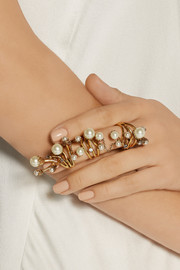 Erickson Beamon Stratosphere gold-plated, faux pearl and Swarovski crystal ring