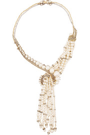Stratosphere gold-plated, faux pearl and Swarovski crystal necklace