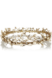 Erickson Beamon Stratosphere gold-plated, Swarovski crystal and faux pearl headpiece