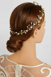 Stratosphere gold-plated, Swarovski crystal and faux pearl headpiece