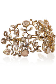 Erickson Beamon Telepathic gold-plated, Swarovski crystal and faux pearl headband