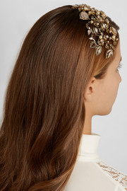 Telepathic gold-plated, Swarovski crystal and faux pearl headband