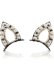 Erickson Beamon Stratosphere ruthenium-plated, Swarovski crystal and faux pearl hair slides