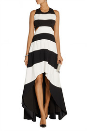 Asymmetric cutout stretch-crepe gown