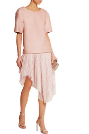 Coated stretch-knit and pleated mousseline dress