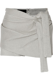 Wrap-effect coated stretch-knit shorts