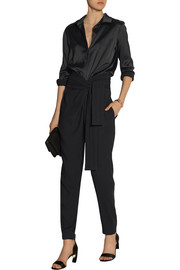 Satin and stretch-crepe jumpsuit