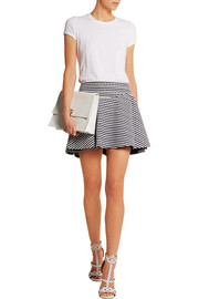 Studded striped cotton-piqué mini skirt