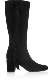 Fringed suede knee boots