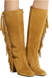 Fringed suede boots