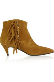 Fringed studded suede ankle boots