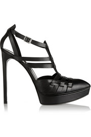 Saint Laurent Cutout leather platform pumps