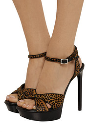 Bianca animal-print calf hair and leather sandals