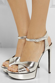 Saint Laurent Bianca metallic elaphe sandals