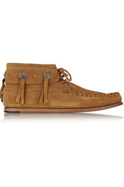Suede moccasin ankle boots