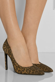 Saint Laurent Paris leopard-print suede pumps