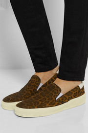 Saint Laurent Leopard-print suede slip-on sneakers