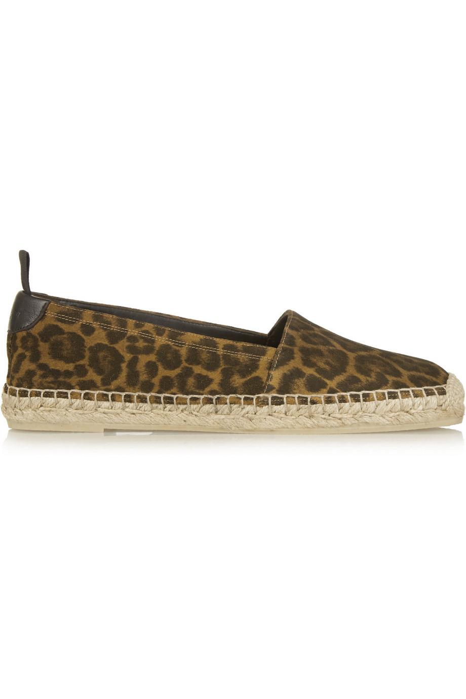 Saint Laurent Leopard-Print Brushed-Suede Espadrilles, Leopard Print/Brown, Women's US Size: 4.5, Size: 35