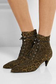 Saint Laurent Leopard-print brushed-suede ankle boots