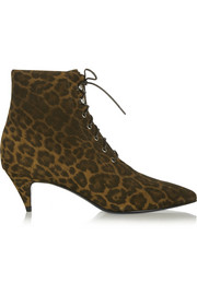 Leopard-print brushed-suede ankle boots