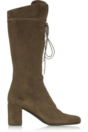 Lace-up suede knee boots