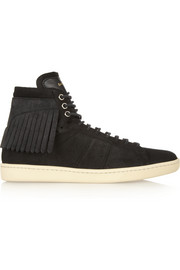 Fringed suede high-top sneakers