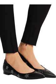 Embellished leather point-toe flats