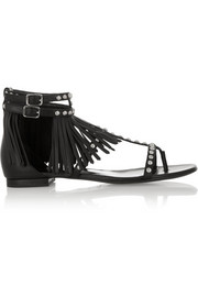 Saint Laurent Studded and fringed leather sandals