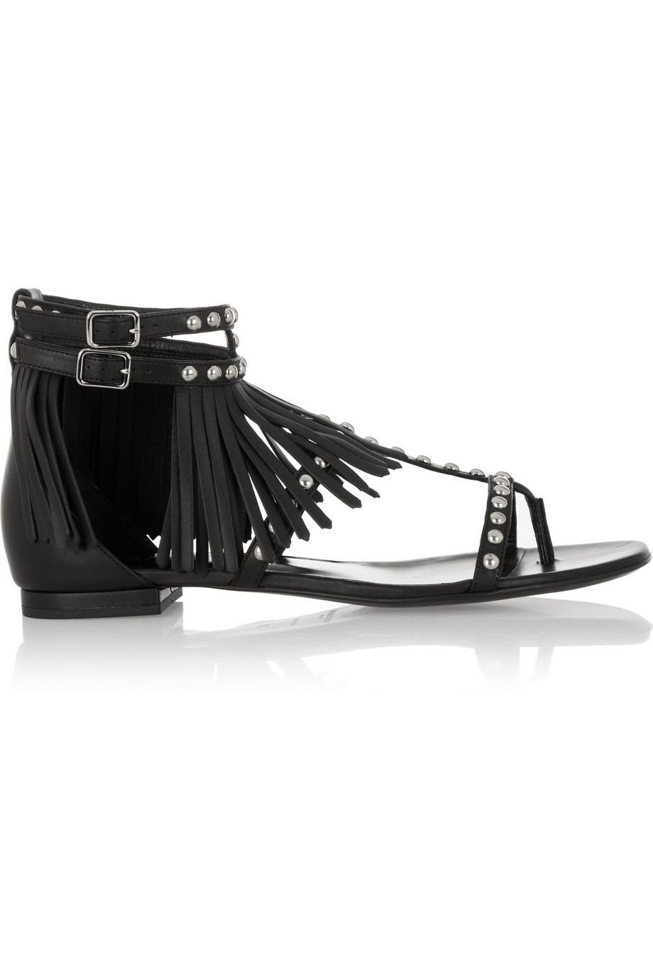 Saint Laurent Studded and Fringed Leather Sandals, Black, Women's US Size: 7.5, Size: 38