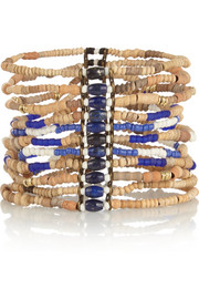 Gold-plated, bamboo and lapis lazuli bracelet