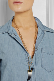 Gold-plated horn necklace