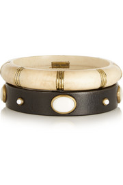 Isabel Marant Set of two wood, bone and gold-plated bangles
