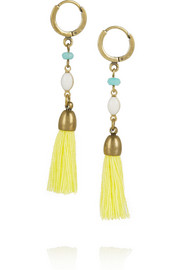 Gold-plated, howlite and tassel earrings