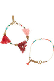 Set of two gold-plated, bone and multi-stone beaded bracelets