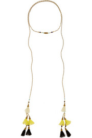 Gold-plated, howlite and tassel wrap necklace