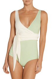 Lisa Marie Fernandez Dree Louise two-tone wrap swimsuit