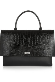 Large Shark bag in black croc-effect leather and suede