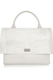 Shark medium shoulder bag in croc-embossed leather and suede