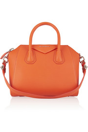 Small Antigona bag in bright-orange textured-leather
