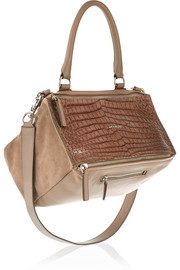 Medium Pandora bag in taupe croc-effect leather and suede