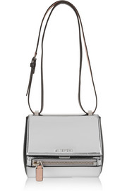 Mini Pandora Box bag in silver mirrored leather