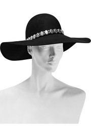 Embellished leather-trimmed rabbit-felt fedora