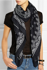 Paisley-print cashmere and silk-blend scarf