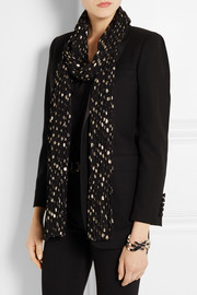 Saint Laurent Polka-dot plissé silk-blend scarf