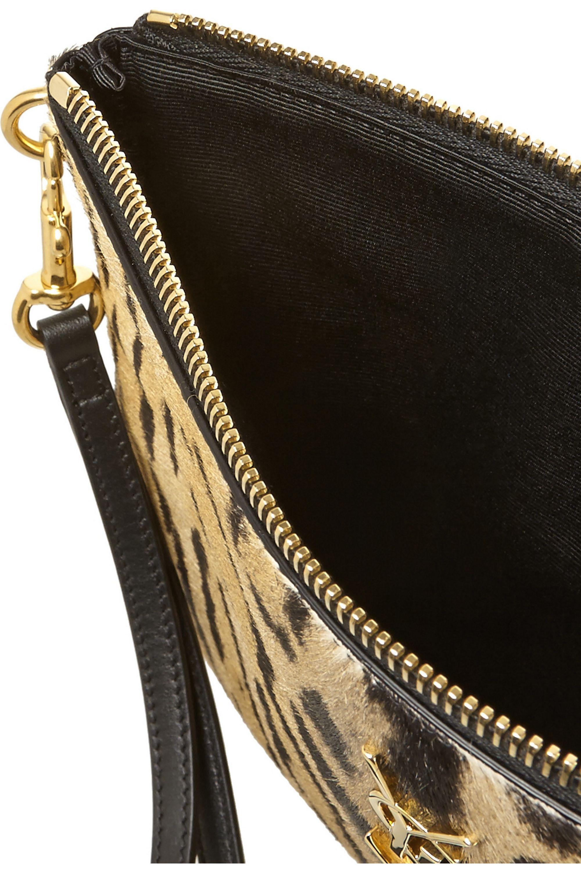 SAINT LAURENT Leopard-print calf hair pouch