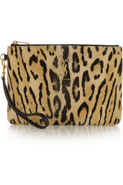 Saint Laurent Leopard-print calf hair pouch