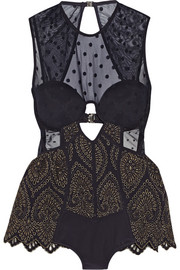 Zimmermann Riot cutout mesh-paneled swimsuit