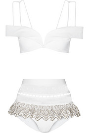 Zimmermann Riot mesh-paneled off-the-shoulder bikini