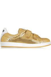 Embossed metallic leather sneakers