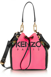 Neon canvas and leather bucket bag